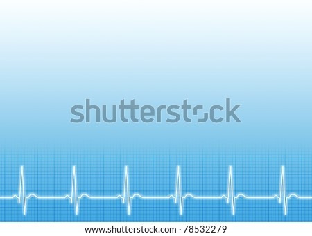 Medical background with ecg line - stock photo