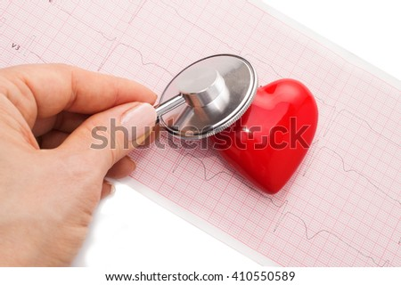 Medical background with hands holding a stethoscope with red heart on the cardiogram - stock photo