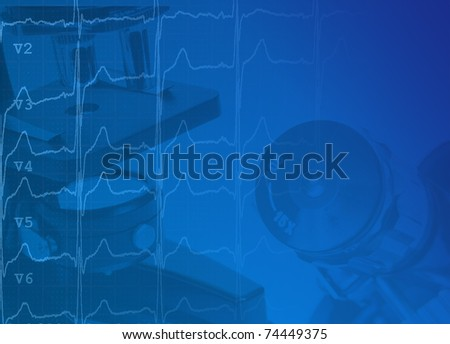 Medical background with microscope and cardiogram