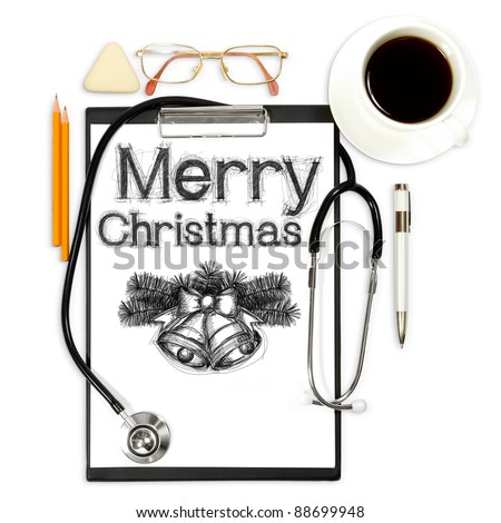 medical background with xmas and office supply - stock photo