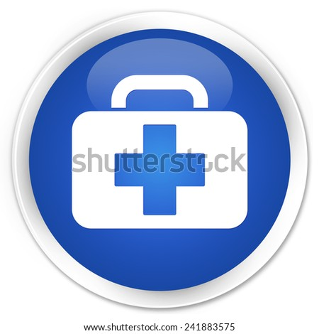 Medical bag icon blue glossy round button - stock photo