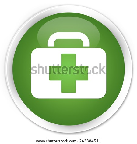 Medical bag icon green glossy round button - stock photo