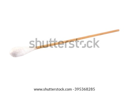Medical bamboo cotton swabs on sticks isolated on white background - stock photo