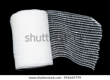 Medical bandage on a black background