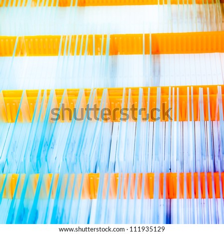 medical biological science equipment background glass microscope slide - stock photo
