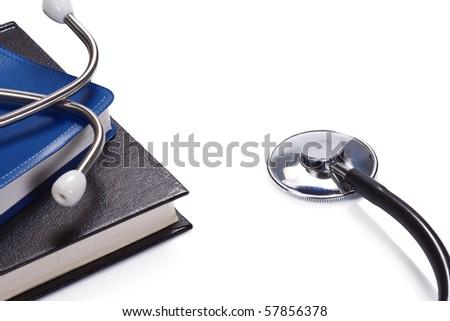 medical books on white background - stock photo