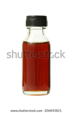 Medical bottle with brown liquid (with clipping path) isolated on white background - stock photo