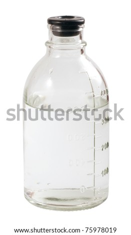 Medical bottle with scale isolated on white