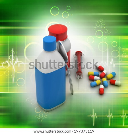 Medical bottles and pills - stock photo