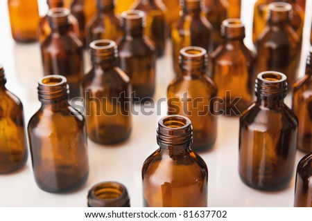 Medical bottles on white - stock photo