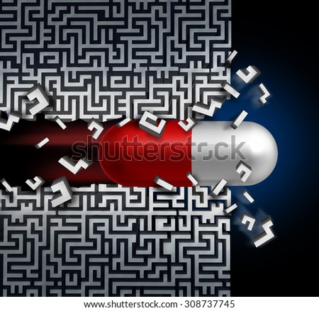 Medical breakthrough concept  and a successful medication discovery symbol as a healthcare medicine solution with a capsule pill breaking through a maze or labyrinth. - stock photo