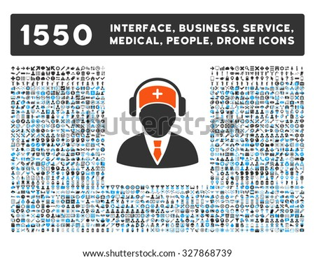 Medical Call Center and other web interface, business tools, people poses, medical service glyph icons. Style is flat symbols, bicolored, rounded angles, white background.