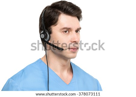 Medical call center operator man isolated on a white background.
