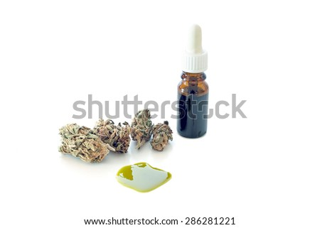 Medical Cannabis ( Marijuana ) oil ready for consumption - stock photo