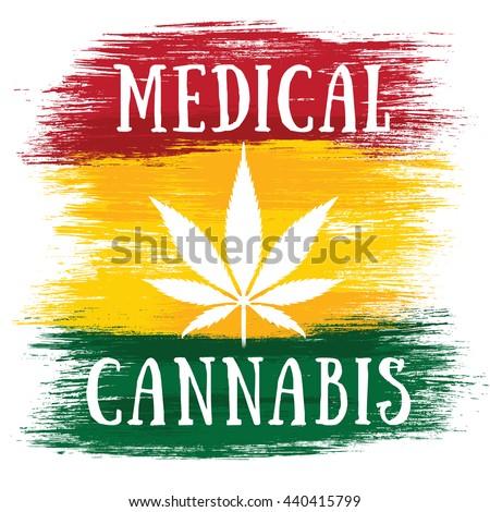 Medical Cannabis white leaf jamaican flag colors  - stock photo