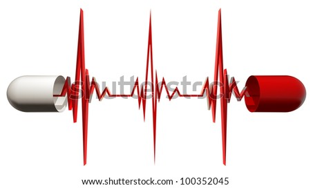 Medical capsule opened with cardiogram isolated on white background, cardiology concept, 3d. - stock photo