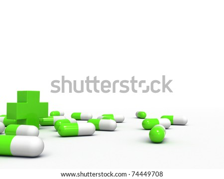 medical capsules and a cross - stock photo