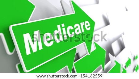 "Medical Care - Social Concept. Green Arrow with ""Medical Care"" Slogan on a Grey Background. 3D Render. - stock photo"