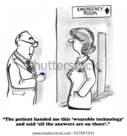 Medical cartoon about wearable technology.