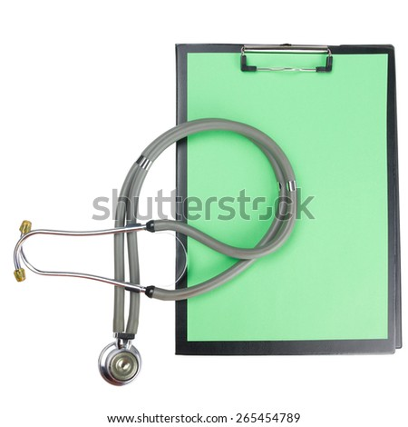 Medical clipboard and stethoscope isolated on white background. Concept of Healthcare And Medicine - stock photo