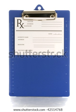 medical clipboard with prescription pad with reflection on white background - stock photo