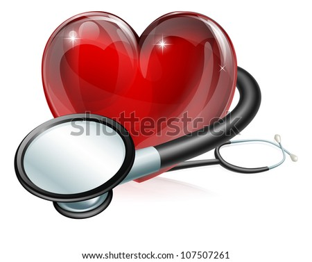 Medical concept illustration of heart shaped symbol and stethoscope - stock photo