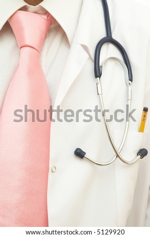 medical concept with doctor and stethoscope close up - stock photo