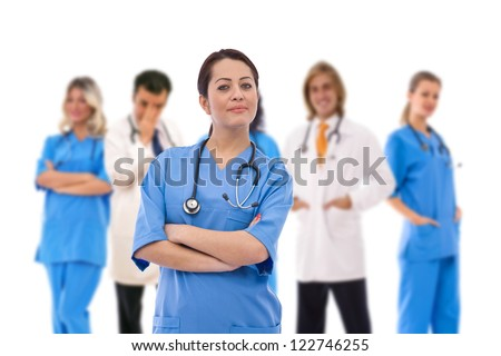 medical concept with doctors at the hospital - stock photo
