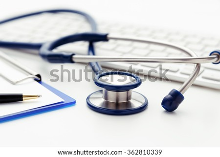 Medical concept with stethoscope on keyboard