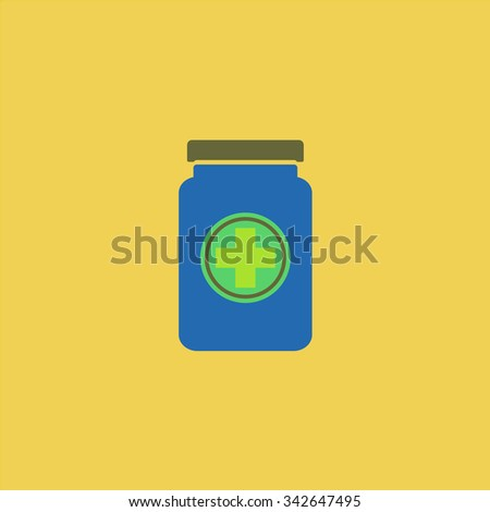 Medical container. Colorful retro flat icon - stock photo