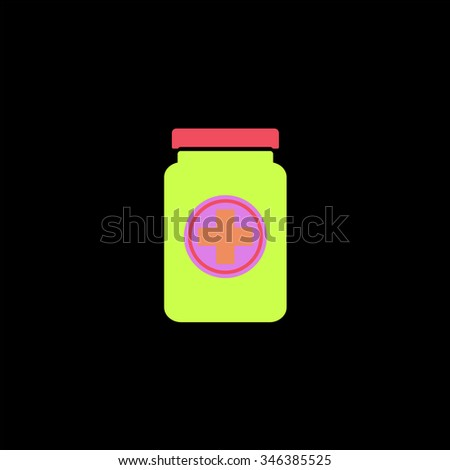 Medical container. Colorful symbol on black background - stock photo