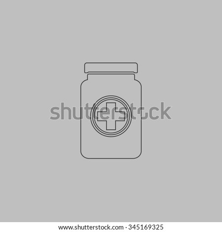 Medical container. Flat outline icon on grey background - stock photo
