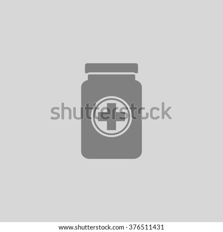 Medical container. Grey simple flat icon - stock photo