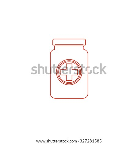 Medical container. Red outline illustration pictogram on white background. Flat simple icon - stock photo
