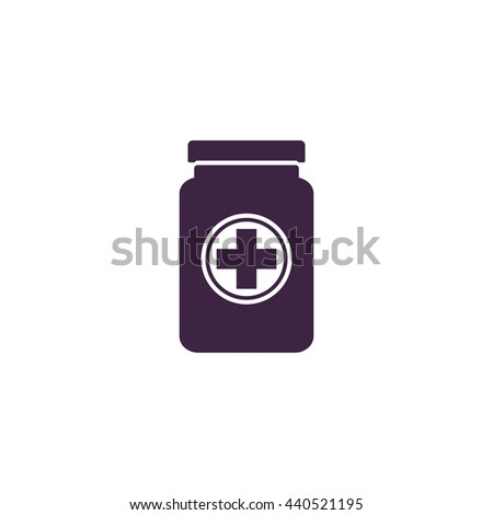 Medical container. Simple blue icon on white background - stock photo
