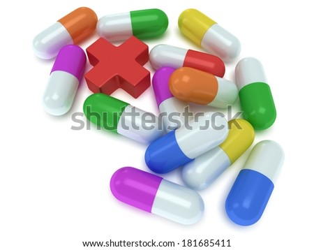 Medical cross and pale of pill capsules. 3d render. Pills, drugs, medicine, healthcare concept