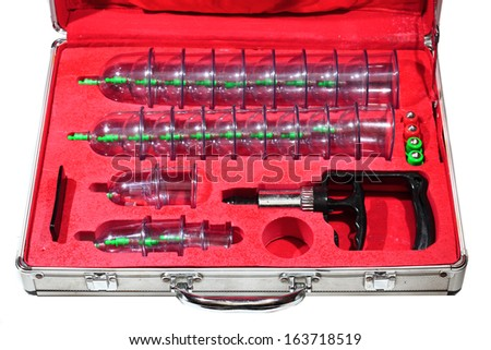 Medical cupping therapy equipment in the briefcase