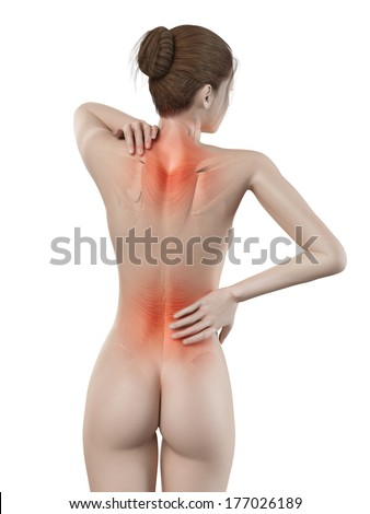 medical 3d illustration - female having backache - stock photo