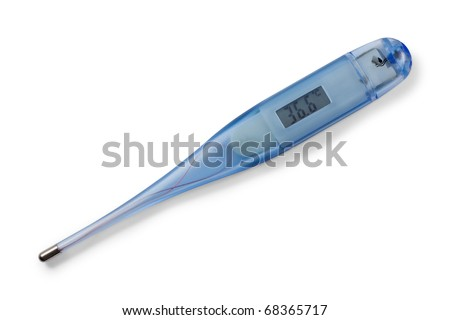 Medical digital thermometer. On display 36,6 celsius. Isolated on white background with clipping path. - stock photo