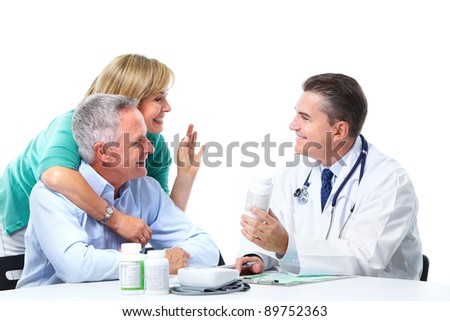 Medical doctor and elderly couple patient. Isolated on white background. Health care. - stock photo