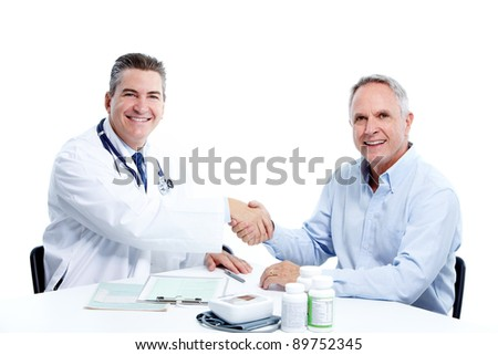Medical doctor and elderly man patient. Isolated on white background. Health care. - stock photo