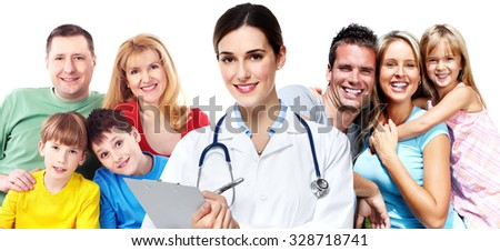 Medical doctor and happy family isolated on white background. - stock photo