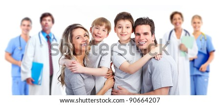 Medical doctor and happy family patient. Isolated on white background. Health care. - stock photo