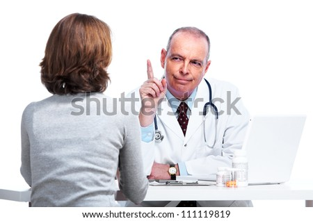 Medical doctor and patient woman. Isolated on white background. - stock photo