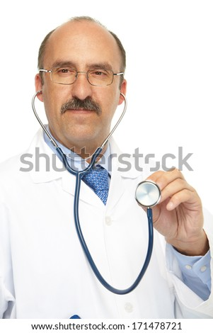 Medical doctor and stethoscope on a white background - stock photo