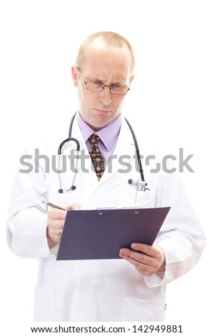 Medical doctor cannot understand the results of the blood test - stock photo