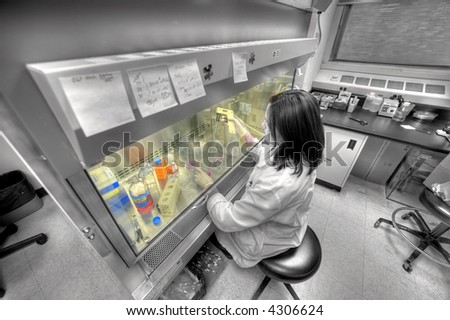 Medical Doctor - female worker in lab of biology industry - stock photo