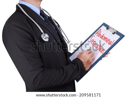 medical doctor filling out Abdominal Sensation word on white background with clipping path - stock photo