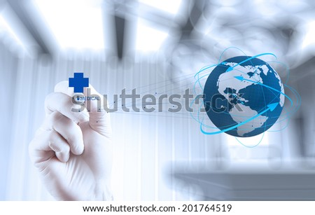 Medical Doctor hand  drawing the world globe in his hands as medical network concept  - stock photo