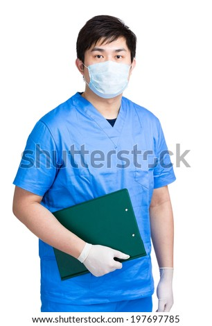 Medical doctor hold clipboard - stock photo